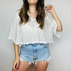 Free People White Lace Embroidered Cropped Shirt